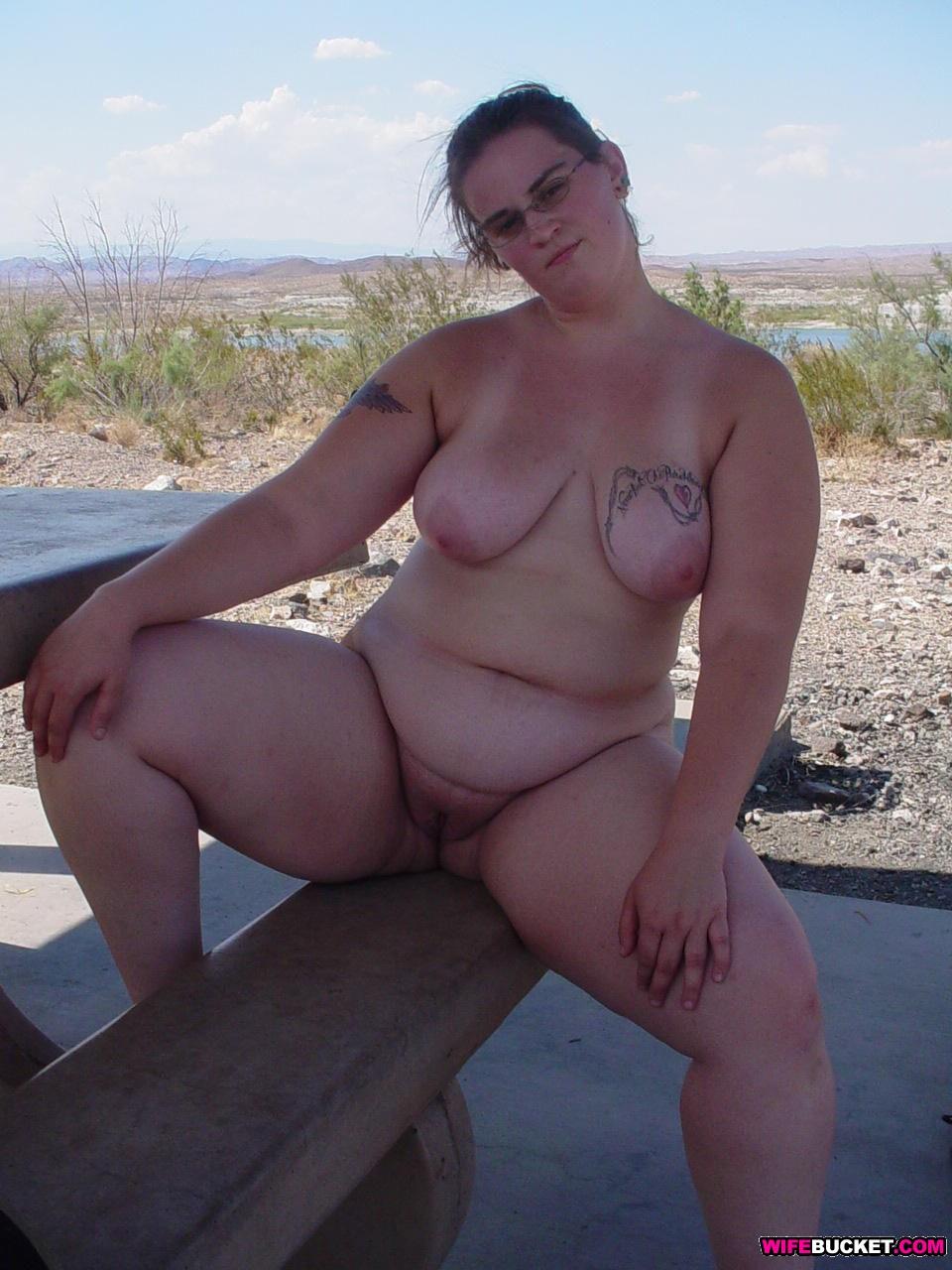 Fat woman at beach